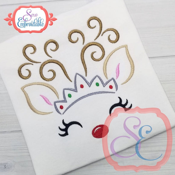 Reindeer Face Tiara Outline