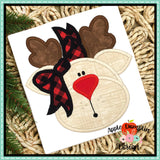 Reindeer with Bow Satin Applique Design, Applique