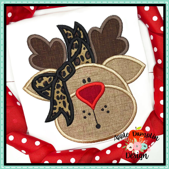 Reindeer with Bow Satin Applique Design