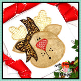 Reindeer with Bow Zigzag Applique Design, Applique