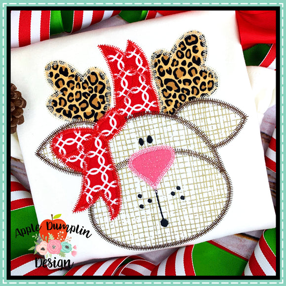Reindeer with Bow Zigzag Applique Design