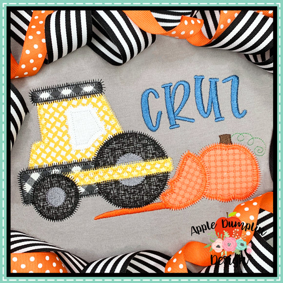 Road Roller Pumpkin Zigzag Applique Design, Applique