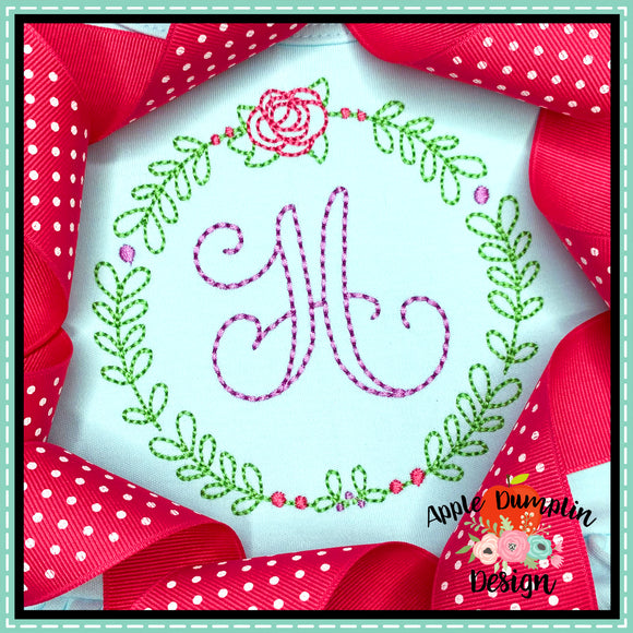 Rose Wreath Embroidery Design, Embroidery