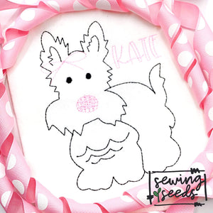 Rover Dog with Bow Embroidery SS-Embroidery Boutique