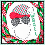 Santa with Aviators Bean Stitch Applique Design, Applique
