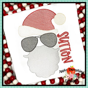 Santa with Aviators Sketch Embroidery Design, Embroidery