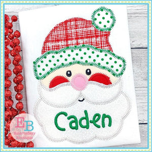 Santa Open Eyes Zigzag Applique