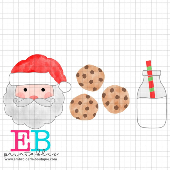 Santa Milk Cookies Printable Design PNG