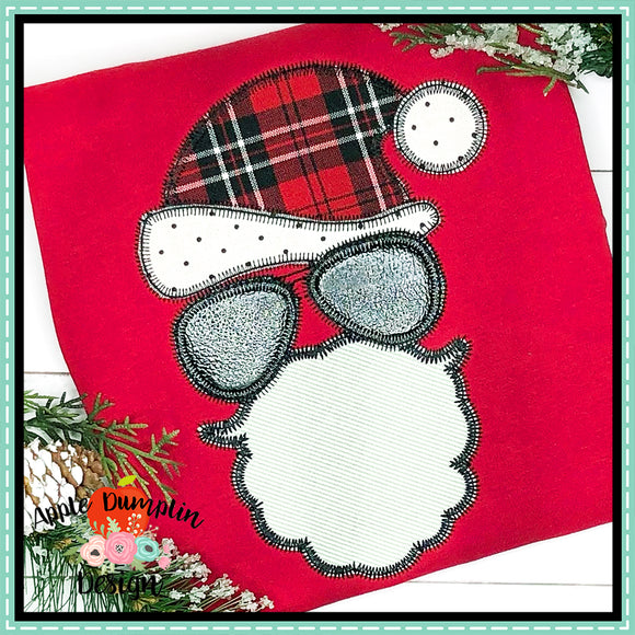 Santa with Aviators Zigzag Applique Design, Applique