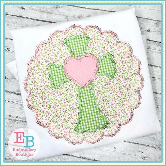Scalloped Cross with Heart Zigzag Applique