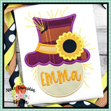 Scarecrow Head Flower Applique Design