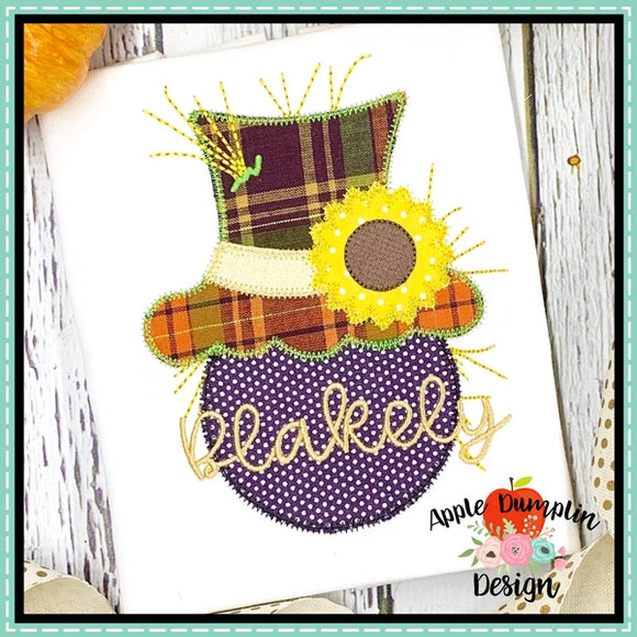 Scarecrow Head Flower Zigzag Applique Design, applique