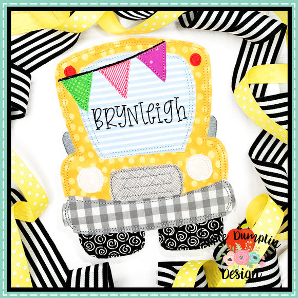 School Bus Bean Stitch Applique Design, Applique