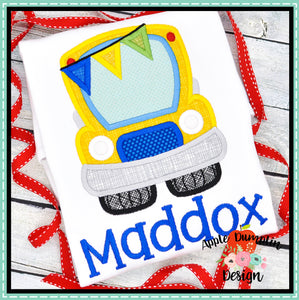 School Bus Satin Applique Design, Applique