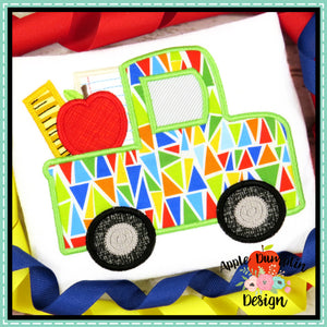 School Truck Satin Applique Design, Applique
