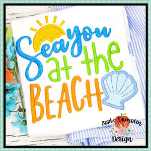 Sea you at the Beach Applique Design