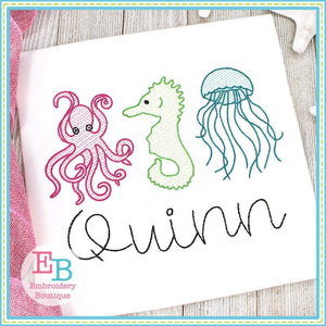 Sea Creatures Trio Sketch Design, Embroidery