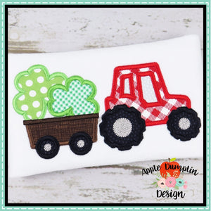 Shamrock Tractor Satin Applique Design