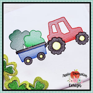 Shamrock Tractor Sketch Embroidery Design, applique