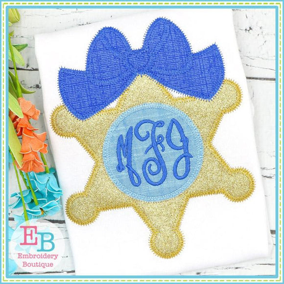 Sheriff Badge Big Bow Zigzag Applique