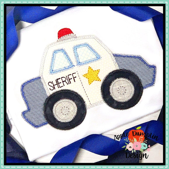 Sheriff Car Zigzag Applique Design