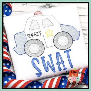 Sheriff Car Sketch Embroidery Design