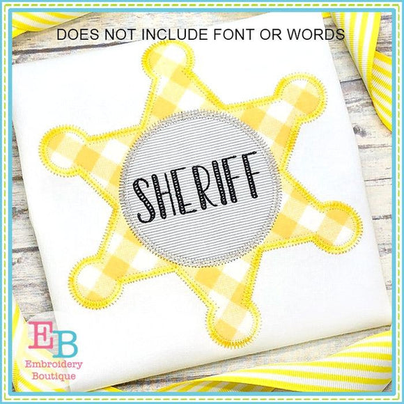 Sheriff Badge Circle Zigzag Applique