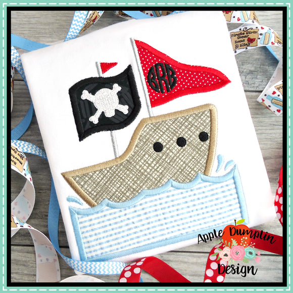 Pirate Ship Satin Applique Design, applique