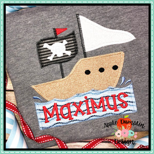 Pirate Ship ZZ Applique Design