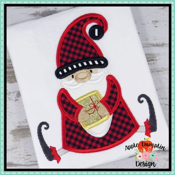 Sitting Santa Gnome Applique Design