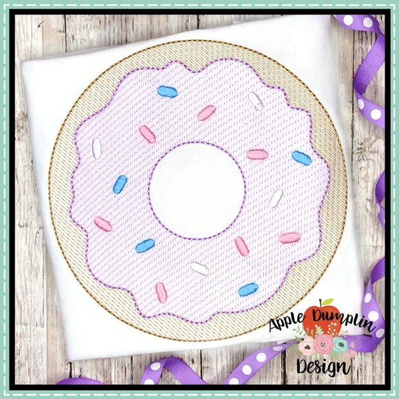 Sprinkle Donut Sketch Embroidery Design
