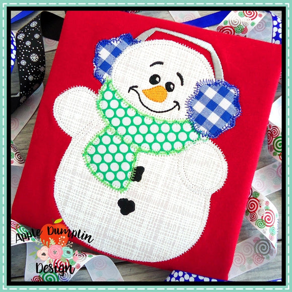 Snowman with Earmuffs Zigzag Applique Design