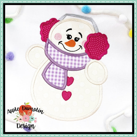 Snowman with Earmuffs Girl Applique Design