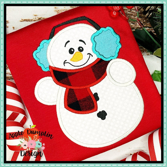 Snowman with Earmuffs Applique Design