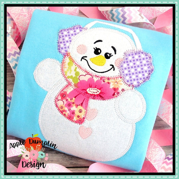 Snowman Earmuffs Girl Zigzag Applique Design