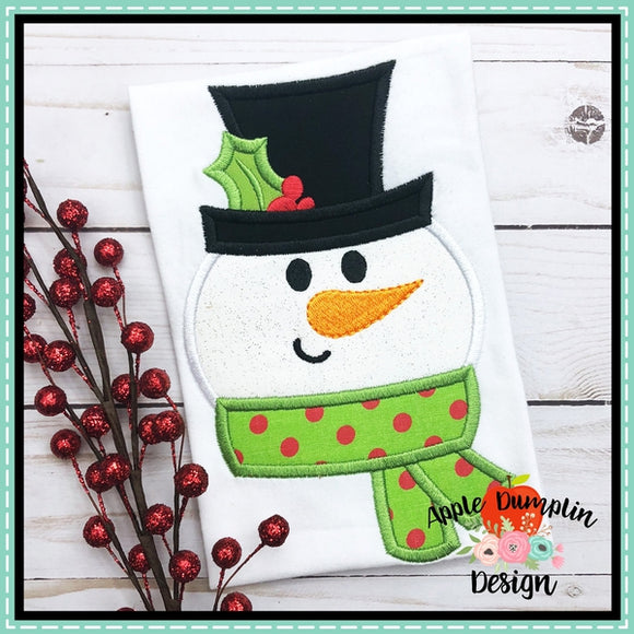Snowman Face Applique Design, Applique