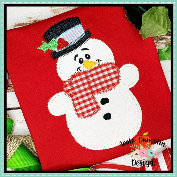 Snowman with Hat Zigzag Applique Design