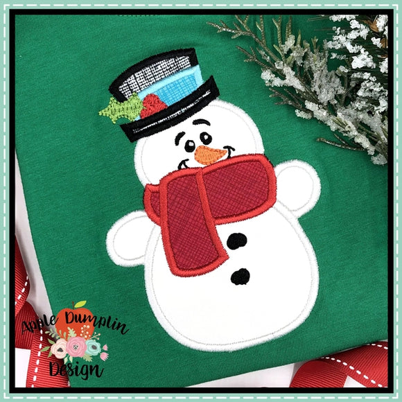 Snowman with Hat Applique Design