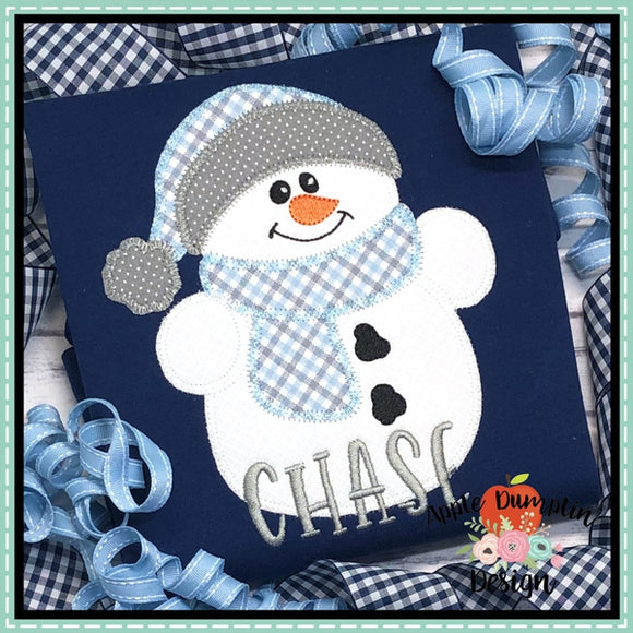Snowman with Toboggan Zigzag Applique Design
