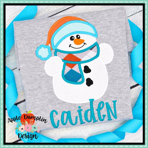 Snowman with Toboggan Applique Design