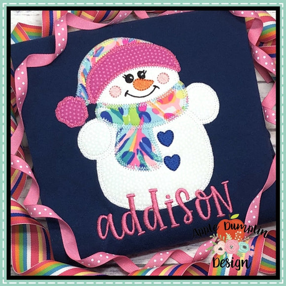 Snowman with Toboggan Zigzag Girl Applique Design