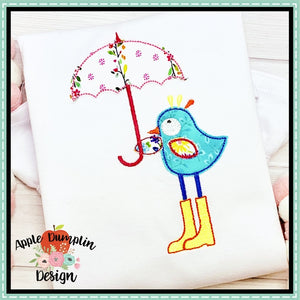 Spring Bird with Umbrella Bean Stitch Applique Design