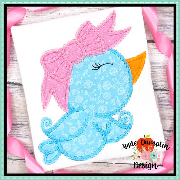 Spring Bird Zigzag Applique Design, applique
