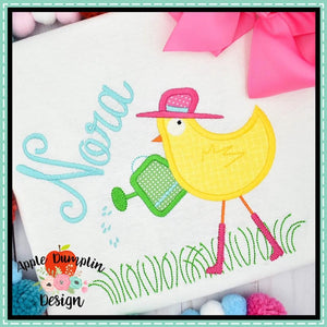 Spring Chicken in Grass Applique Design
