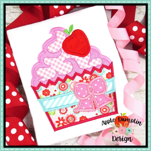 Strawberry Cupcake Applique Design