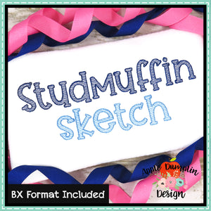 Studmuffin Sketch Embroidery Alphabet, Embroidery Font