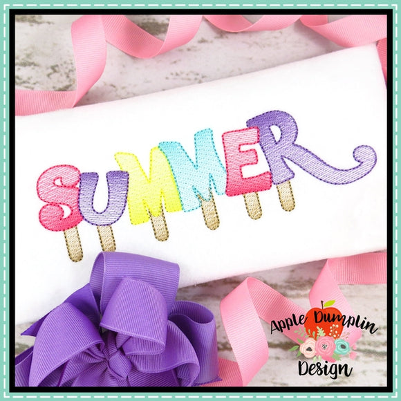 Summer Popsicle Sketch Embroidery Design