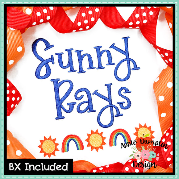 Sunny Rays Alphabet with 2 Minis, Embroidery Font