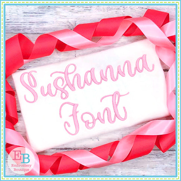 Sushanna Satin Embroidery Font, Embroidery Font