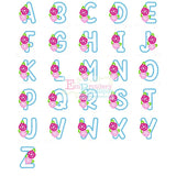 Sweet Roses Satin Applique Alphabet, Applique Alphabet